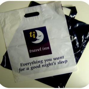 Buy cheap Reusable Handle Plastic Bags Printing Words , Multi-use Packaging Bag product