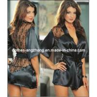 Buy cheap So Sex Black Satin Black Sexy Lingerie Costume Pajamas Underwear Sleepwear Robe and G-String product