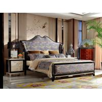 China Neoclassic design of Luxury Bedroom sets High end Bed Headboard in Glossy black wood with Golden painting Nightstands on sale
