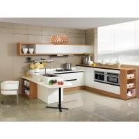 China Modern White Stainless Steel Kitchen Cupboards Laminate Covering With Aluminium Handle on sale