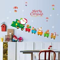 Buy cheap Indoor Decoration Christmas Wall Stickers PVC 3D Santa Claus Drive Train Pattern product