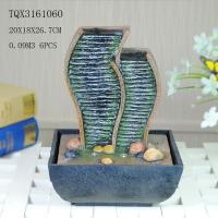 Buy cheap Green Polyresin Water Fountain Tabletop Waterfall Fountain With Natural Pebble product