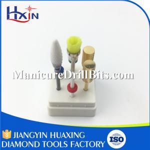 6 PCS Electric Nail Drill Bit Kits With Pink Grey Ceramic / Carbide Nail Bits