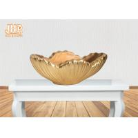 Buy cheap Home Decor Gold Leaf Fiberglass Decoration Table Vase Flower Serving Bowl product