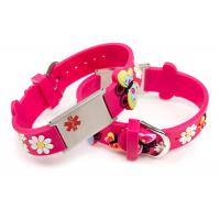 China Silicone Medical ID Wristband , Kids Medical Alert Bracelet With Logo Embossed on sale