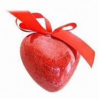 China Polystyrene Foam Christmas Ball Ornament with Glitter, Heart-shaped Design, for Valentines' Gift on sale