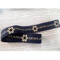 China 30MM Black Jacquard Elastic Band Silk - Screen Printed With Glossy Golden Silicone Logo on sale