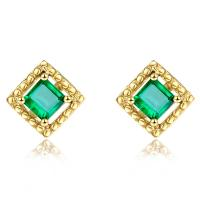 Square Genuine Emerald Stud Earrings 18k Yellow Gold for Ladies Gifts