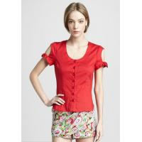 Buy cheap Red Short Sleeve Tight Ladies Fashion Tops And Blouses For Summer , Spring , Autumn product