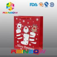 Red customized paper bags christmas gift bag with rope