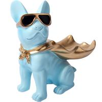 Buy cheap Modern Blue Bulldog Polyresin Animal Figurines Candy Snack Holder Plate product