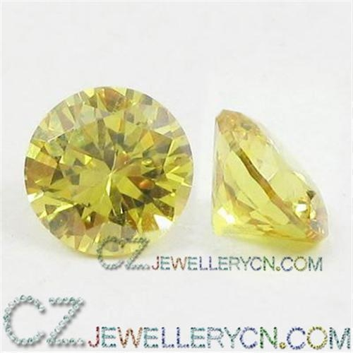 Cz yellow loose cz yellow cubic zirconia yellow color round for sale