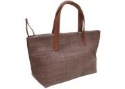 Quality Hemp bag in brown with leather handle for sale
