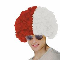 Buy cheap Red and White Afro Fans Wig product