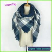 Buy cheap Bestseller stripes square scarf with acrylic fashion shawl product