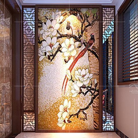 Custom glass mural tiles d2005 of miusartmosaics for Custom mural tiles