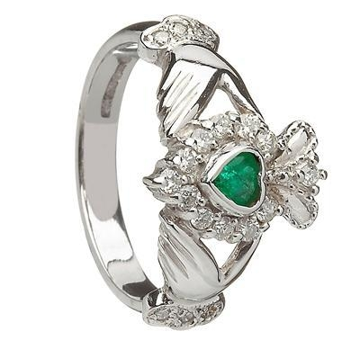 14k white gold cluster and emerald claddagh