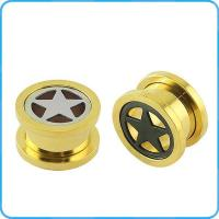 Buy cheap TP012194 316l stainless steel stars plating gold ear plugs from wholesalers