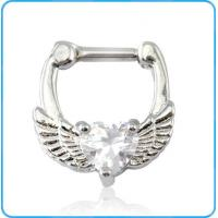 Buy cheap SR01153 Heart Zircon Inlaid Copper Septum Ring Body Jewelry from wholesalers