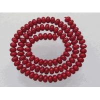 Buy cheap Fire Engine Red Bamboo Coral Rondelles 6mm from Wholesalers