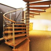 High quality spiral staircase interiror wood treads glass ralings spiral stairs