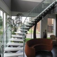 Bent Stainless Steel Handrail Used For Indoor Curved Staircase PR-C37