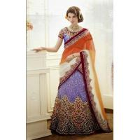 Buy cheap Lehenga Orange & Purple Designer Bridal Lehenga - DIF 32156 product