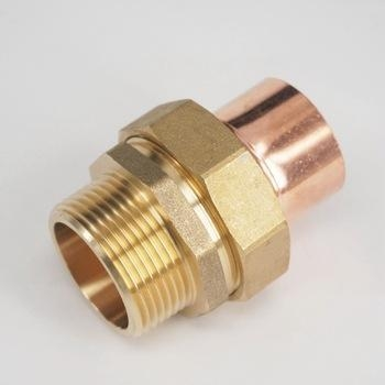 Brass male thread socket union to copper end feed pipe for Copper water pipe fittings types