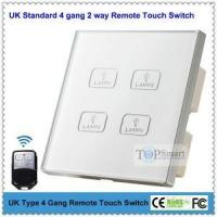 UK Type White 4 gang 2 way Toughened Glass Panel Remote Touch Wall swtich for smarthome (NL)