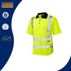 Quality Polycotton Twill White Short Sleeve Button Down Polo Shirts with Reflective Tapes for sale