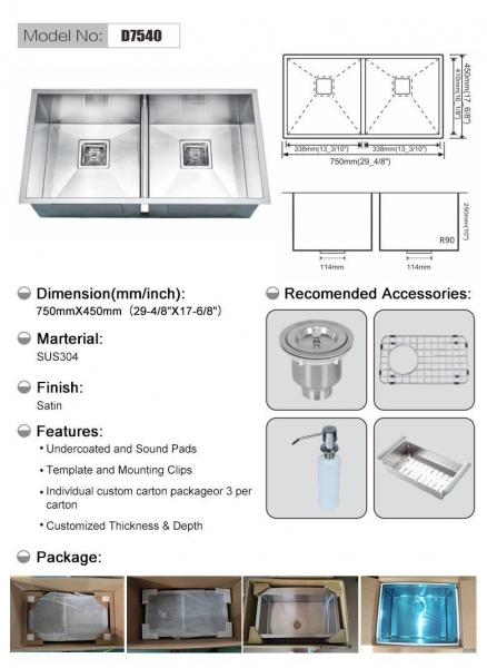 Quality Handmade sink Model No:D7540 for sale