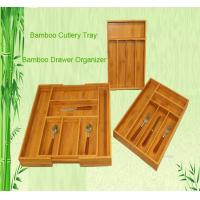 Buy cheap bamboo cutlery tray drawer organizer tableware box product