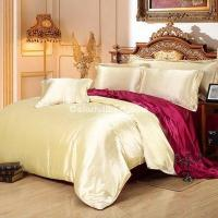 Buy cheap Camel And Wine Silk Bedding Set Duvet Cover Silk Pillowcase Silk Sheet Luxury Bedding product