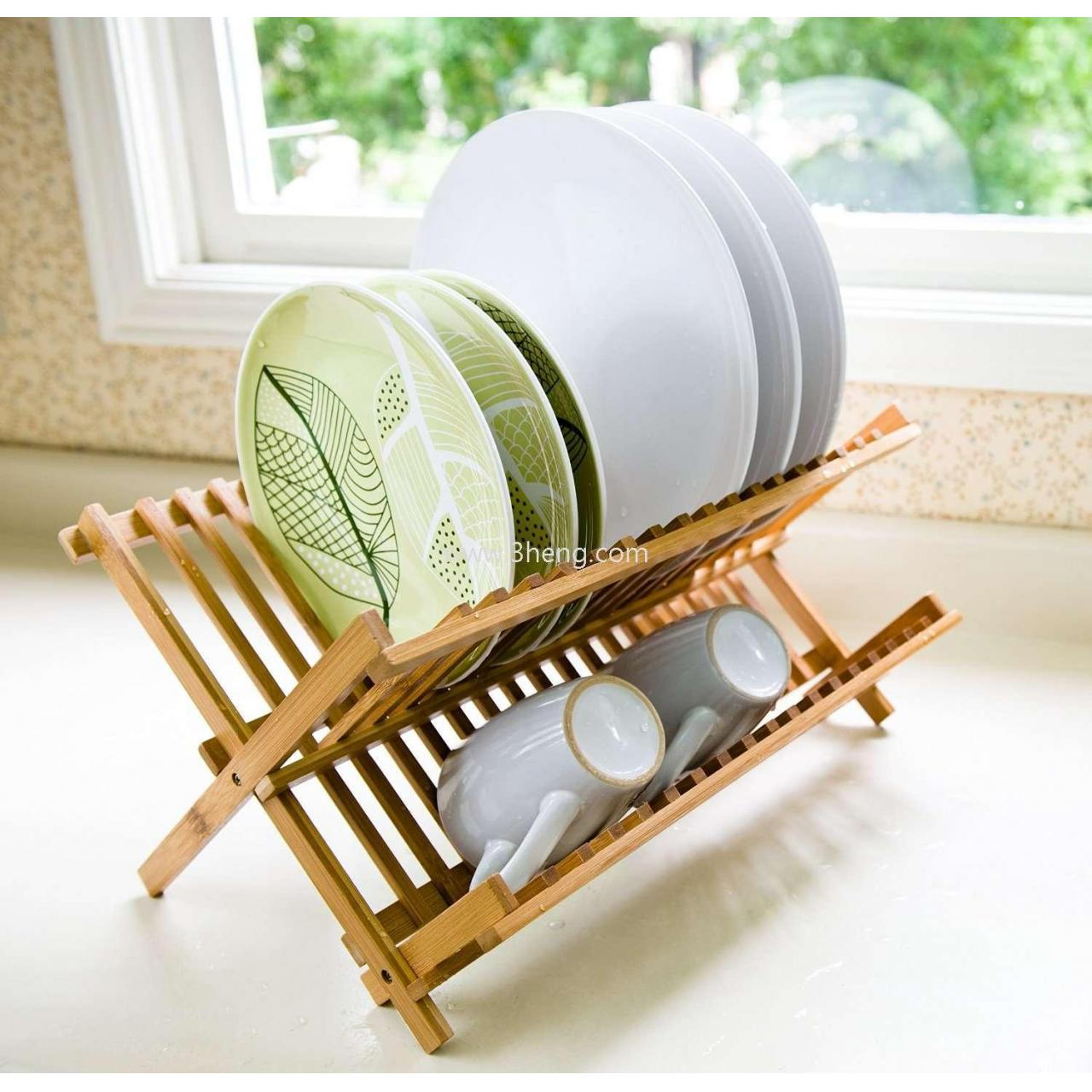 Buy cheap Bamboo Scissor Style Folding Dish Rack /Plate Drying Rack Drainer Storage Organizer product