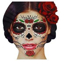 Buy cheap Glitter Red Roses Day of the Dead Sugar Skull Temporary Face Tattoo Kit - Pack of 2 Kits product