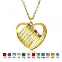 Buy cheap Best Dropship Product * Engrave & Birthstone Personalized Silver Necklace #NE101243 product