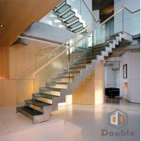 Double Stringer Glass Straight Staircase with Glass Tread