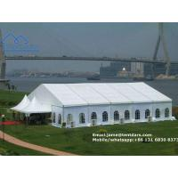 European Style Clear Span Structures White PVC Party Tent with Drapes Decoration for Sale