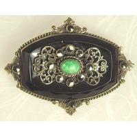 Unsi Lovely Antique Black Glass and Filigree Pin