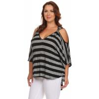 Buy cheap Katya Cut-Out Top - BLACK GRAY STRIPES product