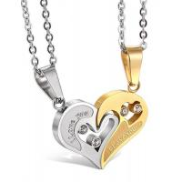 China Jstyle Stainless Steel Mens Womens Couple Necklace Friendship Puzzle CZ Love Matching Heart Pendants on sale
