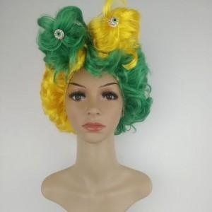 Quality Country Football Fans Fun Afro Wig for Brazil Team for sale