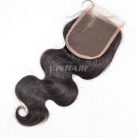 """Buy cheap 4""""x4"""" #1 Body wave Virgin Hair Tied Free Parted Remy Silk base Lace Closure #1B Natural Black product"""