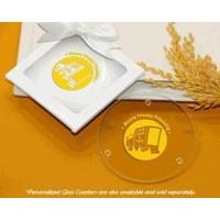 Buy cheap White Glass Coaster Gift Box w/ Clear Window & Satin Bow product