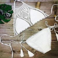 Buy cheap 2017 hand hook beach bikini colorful swimwear hand crochet flower women bra underwear wholesale product