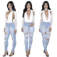 Custom Hot Sale Ladies Denim Ripped Jeans Trousers Woman