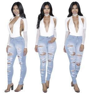 Quality Custom Hot Sale Ladies Denim Ripped Jeans Trousers Woman for sale