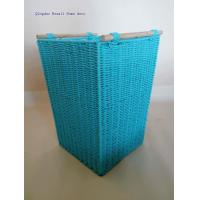 Tapered paper rope basket with wood handles