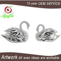 Buy cheap White with Silver Swan Statue for Home Room Accessories and Wedding Gifts product
