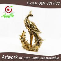 Buy cheap Golden Resin Figurine Peacock Statues for Sale and Gifts product
